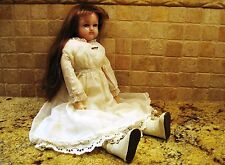 "Antique 21"" Wax Turned Head Doll - rare - blue sleep eyes; cloth body - Original"