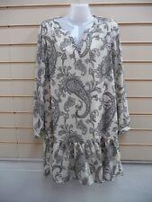 Dress Black Beige Size Small - 8 Vero Moda Tunic Smocked Print Flowy