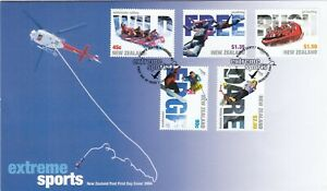 Stamps 2004 New Zealand Extreme sports set of 5 on official FDC