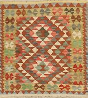 SQUARE Flat-Woven Pastel Color Kilim Turkish Rug Hand-Woven Vintage Wool 3'x3'