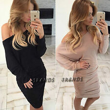 UK Womens Bodycon Off/One Shoulder Dress Ladies Party Evening Mini Size 6-14