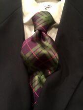 "NWT Seaward & Stearn 7-Fold Green/Purple Plaid The English Silk Tie 3.5"" x 59"""