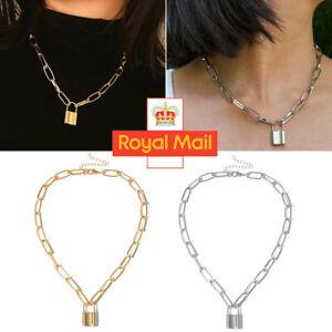 Women Men Chain Locks Necklace Layered Padlock Key Pendant Chunky Punk Jewelry