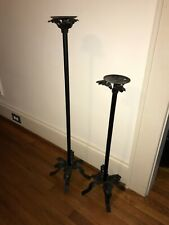 """Home Interiors Wrought Iron Floor Stand Pillar Candle Holders~Approx 29.5"""" & 39"""""""