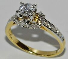 9CT YELLOW GOLD & SILVER 0.75ct SOLITAIRE FANCY ENGAGEMENT RING - size R