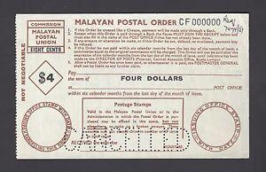 Malaysia - Malaya Postal Order 4 Dollars  Specimen Proof Rare