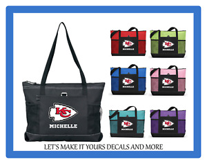 KANSAS CITY CHIEFS WITH NAME TOTE PURSE TRAVEL SPORTS GYM SCHOOL BAG ZIPS