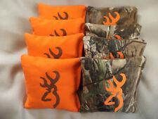 Cornhole bags Camo Buck Deer browning bean bag game corn toss orange embroidered