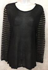 Luv-tricot Top Black Sheer Knit Shear Striped Longsleeved Size Medium