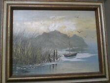 Oil Painting, Signed by PRESTON , ''Sail Boat''