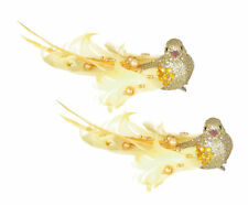 2 x Gold Clip on Glitter & Feather Birds Christmas Tree Decorations | Wedding