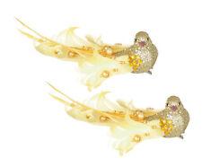2 X Glitter Oro A Clip & Feather Birds Decorazioni Albero di Natale | Matrimonio