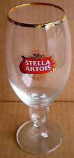 BEER DRINKING GLASS TALL PEDESTAL STELLA ARTOIS GOLD TRIM 500ML 50CL