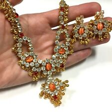 Kundan BOLLYWOOD Wedding BRIDAL Rhinestone Necklace & Earring Set Gold SL74r