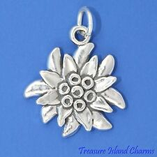 BLOOMING EDELWEISS FLOWER .925 Solid Sterling Silver Charm