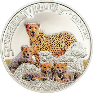 Rare 2013 Tanzania Large Color Silver $5  Cheetah