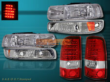 1999-2002 CHEVY SILVERADO CHROME HEADLIGHTS & BUMPER LIGHTS &LED TAIL LIGHTS RED