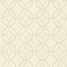 Wallpaper Designer Geometric Beige Trellis on Off White Faux Linen