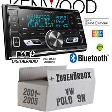 Kenwood Autoradio für VW Polo 9N 2DIN Bluetooth DAB+ USB CD KFZ Einbauset