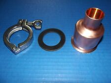 """Easy Moonshine Still Beer Keg 2""""-1"""" Copper Pipe Column Adapter Tri Clamp alcohol"""