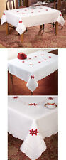 "Embroidered Poinsettia Christmas Tablecloth Scalloped Edges 60""x80"" Dinner Party"