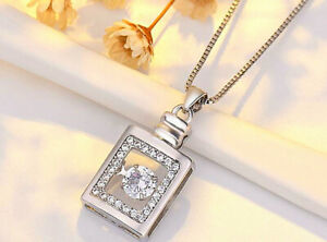 Perfume Bottle Pendant 925 Sterling Silver Chain Necklace Womens Jewellery Gift