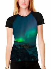 Aurora Borealis Northern Lights Mountains Women's All Over Baseball T Shirt
