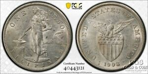 1908-S US Philippines Peso PCGS AU 55 Silver Coin 21577