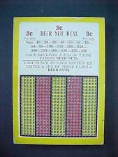 1920's Beer Nut Deal Punch Board Trade Stimulator 3 Cent