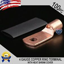 "100 PCS 4 AWG 4 GA Copper Ring Terminal Heat Shrink 1/4"" Hole Lug Connector US"