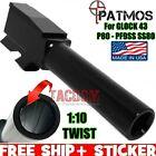 PATMOS ARMS Black Nitride Barrel for Glok 43 - P80 PF9SS -  SS 80 9mm - 1:10 USA