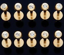 """1PC 14K Gold Plated Clear CZ Gem 3MM Ball Labret 16g 5/16"""" 316L Surgical Steel"""