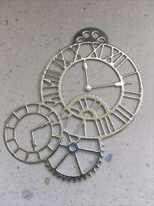 6 Clocks & Cogs Watch Time Die Cut Toppers Silver Mirri Card (80 X 55 mm)