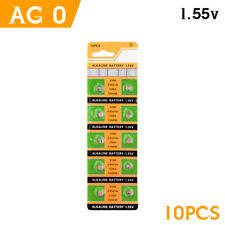 10pcs 1.55v ag0 alkaline batteries sr63 lr521 gp379 sr521sw 379 coin button cell