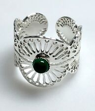 L'Atelier Emma & Chloe Adjustable Mahe Ring Filigree Silver Dipped Green Stone
