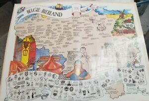Vintage 1986 Map Of Belgium, Local Beer Makers, Crests, Belgie Bierland 27 x 22