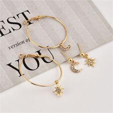 4Pcs/Set Fashion Large Circle Earrings Crystal Moon Star Ear Studs Lady Jewelry
