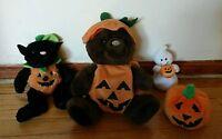 Lot of 4 Halloween Plush Dolls Teddy Bear Pumpkin Ghost Black Cat Kelly Toys