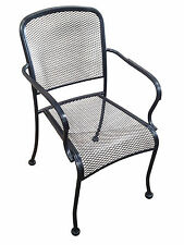 Outdoor Wrought Iron Metal Black Mesh Stackable Arm Chair Restaurant Cafe Patio