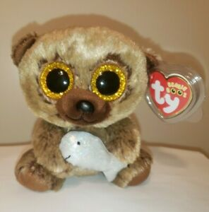 """Ty Beanie Boos - HENRY the Bear w/ Fish 6"""" (Canada Exclusive) NEW with MINT TAGS"""