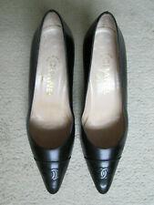 Women's Vintage Chanel Chevreau Noir Shoes, Size 40,5