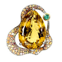Handmade Pear Citrine 33.05ct Emerald Sapphire 925 Sterling Silver Jumbo Ring 8