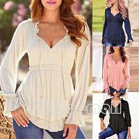 Womens V Neck Casual T-Shirt Plain Ruffle Loose Peplum Long Sleeve Top Blouse AU