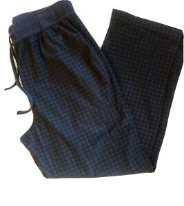 Nautica Sleepwear Blue & Black Plaid Flannel Pajama Pants-Men's M