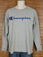Vintage Champion Authentics Gray LS Spell Out Graphic T-Shirt Mens Size Medium M