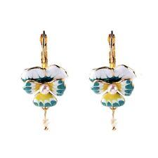 PROMO Boucles d`Oreilles Dormeuses Fleur Muguet Email Bleu Blanc Jaune Perle D4