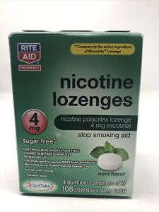 Nicotine Lozenges 4mg, Mint Flavor 72 Ct Stop Smoking Aid by Rite Aid, Exp 01/21