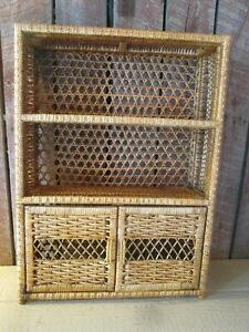VTG Wicker Rattan Hanging Wall Shelf Book cabinet boho natural 2 doors