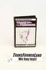 Weirdwolf Instructions Headmasters 1987 Vintage Hasbro G1 Transformers
