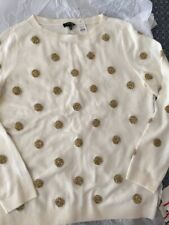 NWT Talbots Womens Sweater Petite Size Medium Pullover Ivory With Gold $89